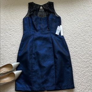 Phoebe by Kay Unger Blue/ Black Glitter Dress